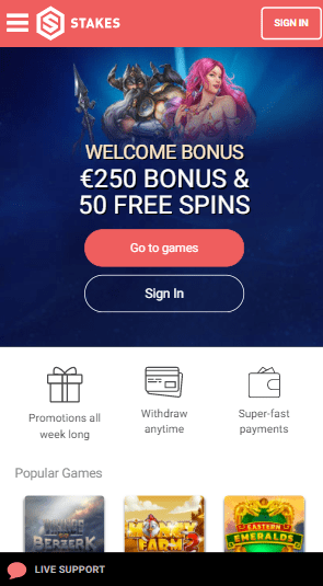 Stakes Casino mobile