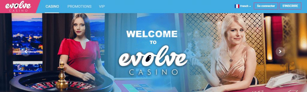 Evolve Casino front page