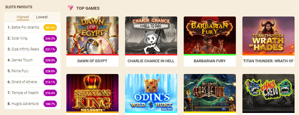 Wild Sultan Casino top games